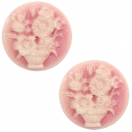 Cabochon basic camee 20mm boeket Vintage pink-off white