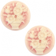 Cabochon basic camee 20mm boeket Vintage rose-antique gold