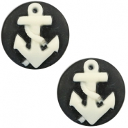 Cabochon basic camee 20mm anker Black-white