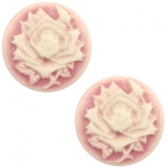 Cabochon basic camee 20mm roos Vintage pink-off white