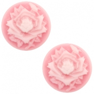 Cabochon basic camee 12mm roos Pink-white
