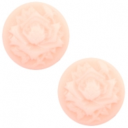 Cabochon basic camee 12mm roos Light pink-off white