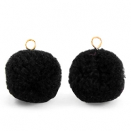 Pompom bedels met oog 15mm Black-gold