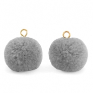 Pompom bedels met oog 15mm Grey-gold