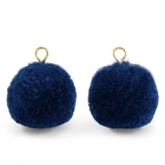 Pompom bedels met oog 15mm Nightshadow blue-gold
