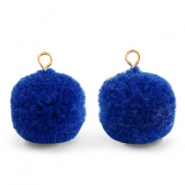 Pompom bedels met oog 15mm Egyptian blue-gold