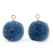 Pompom bedels met oog 15mm Dark glaucous blue-gold