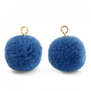 Pompom bedels met oog 15mm Glaucous blue-gold