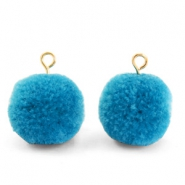 Pompom bedels met oog 15mm Light cerulean blue-gold