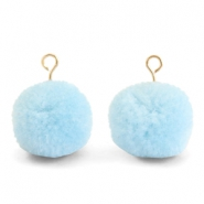 Pompom bedels met oog 15mm Light blue-gold