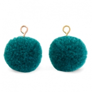 Pompom bedels met oog 15mm Green zircon-gold