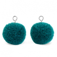 Pompom bedels met oog 15mm Green zircon-silver