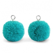 Pompom bedels met oog 15mm Jungle green-silver