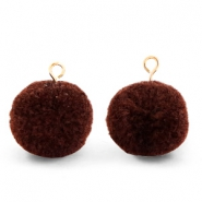 Pompom bedels met oog 15mm Dark brown-gold