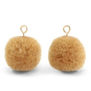 Pompom bedels met oog 15mm Hazelnut brown-gold