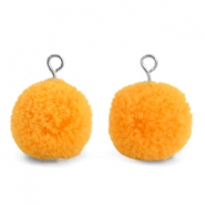Pompom bedels met oog 15mm Brilliant orange-silver