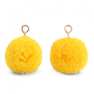 Pompom bedels met oog 15mm Sunrise warm yellow-gold