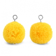 Pompom bedels met oog 15mm Sunrise warm yellow-silver