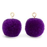 Pompom bedels met oog 15mm Indigo purple-gold