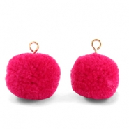 Pompom bedels met oog 15mm Cherish pink-gold