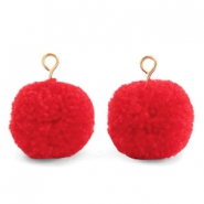 Pompom bedels met oog 15mm Dark coral red-gold
