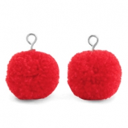 Pompom bedels met oog 15mm Dark coral red-silver