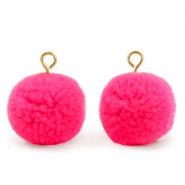 Pompom bedels met oog 15mm Hot neon pink-gold
