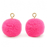 Pompom bedels met oog 15mm Bright pink-gold
