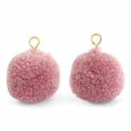 Pompom bedels met oog 15mm Dark vintage pink-gold
