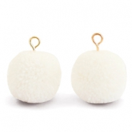 Pompom bedels met oog 15mm Floral white-gold
