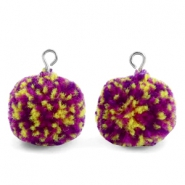 Pompom bedels met oog 15mm Purple yellow-silver