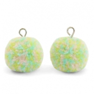 Pompom bedels met oog 15mm Mix pastel green-silver