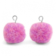 Pompom bedels met oog 15mm Mix lilac purple-silver