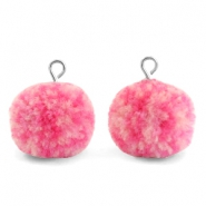 Pompom bedels met oog 15mm Mix pink-silver