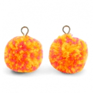 Pompom bedels met oog 15mm Mix orange-silver