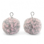 Pompom bedels met oog 15mm Mix pink grey-silver