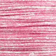 Waxkoord metallic 0.5mm Magenta pink