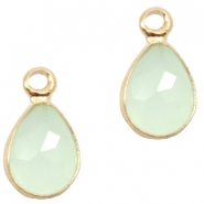 Hangers van crystal glas druppel 12x6mm Light turquoise green opal-gold