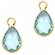 Hangers van crystal glas druppel 12x6mm Light turquoise blue crystal-gold