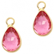 Hangers van crystal glas druppel 12x6mm Fuchsia pink crystal-gold