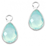 Hangers van crystal glas druppel 12x6mm Light turquoise blue opal-silver