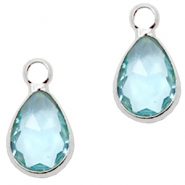 Hangers van crystal glas druppel 12x6mm Light turquoise blue crystal-silver
