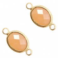 Tussenstukken van crystal glas ovaal 10x9mm Light peach opal-gold