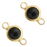 Tussenstukken van crystal glas rond 6mm Black opaque-gold