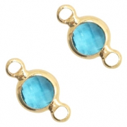 Tussenstukken van crystal glas rond 6mm Blue zircon crystal-gold