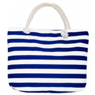 Fashion tas Beach bag stripe White-dark blue