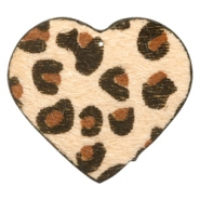 Hairy imi leer hangers hart met leopardprint Beige brown