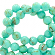 4 mm natuursteen kralen rond jade met marble look Turquoise light green