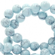 6 mm natuursteen kralen rond jade met marble look Light blue