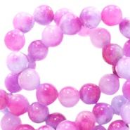 6 mm natuursteen kralen rond jade met watercolour look Mixed colours lavender-pink